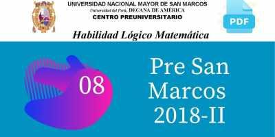 PDF Semana 8 Pre San Marcos 2018-II Solucionario y Boletín