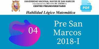 PDF Semana 4 Pre San Marcos 2018-I Solucionario y Boletín