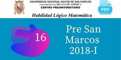 PDF Semana 16 Pre San Marcos 2018-I Solucionario y Boletín