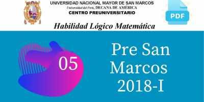 PDF Semana 5 Pre San Marcos 2018-I Solucionario y Boletín