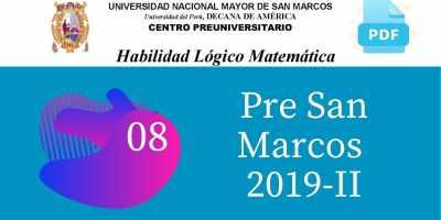 PDF Semana 8 Pre San Marcos 2019-II Solucionario y Boletín