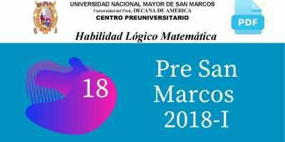 PDF Semana 18 Pre San Marcos 2018-I Solucionario y Boletín